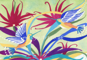 The colours of the flowers were vibrant and intense, as were the little humming birds in the bushes and treetops. Inspired by Batik on the Caribbean island of St Kitts, I wanted to convey the sunshine and joy evoked by the natural beauty of this island.