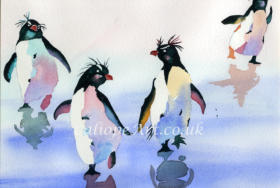"Fun to paint, each penguin in this ice-cold ""waddle"" has a story. Priscilla struts off - Pandora has got Pablo - Percival stomps off. Pudgy male penguins, who incubate the eggs, have enough fat to survive weeks without eating - so are the most desirable!"