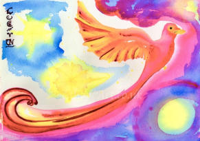 With its red and maroon fire-glowing tail feathers created in swirling calligraphic strokes as if it were just flying out of the painting, the mythological Phoenix transcends time. With total trust in the Universe, it glows with resurrection and hope.