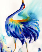 Capturing the dazzling beauty of this crane's proud display, the swirling dimensional brushstrokes follow the shape of its wings. Rays of sunlight and flurries of feathers create magic, the wings seeming to fly off the paper with its energetic dance.